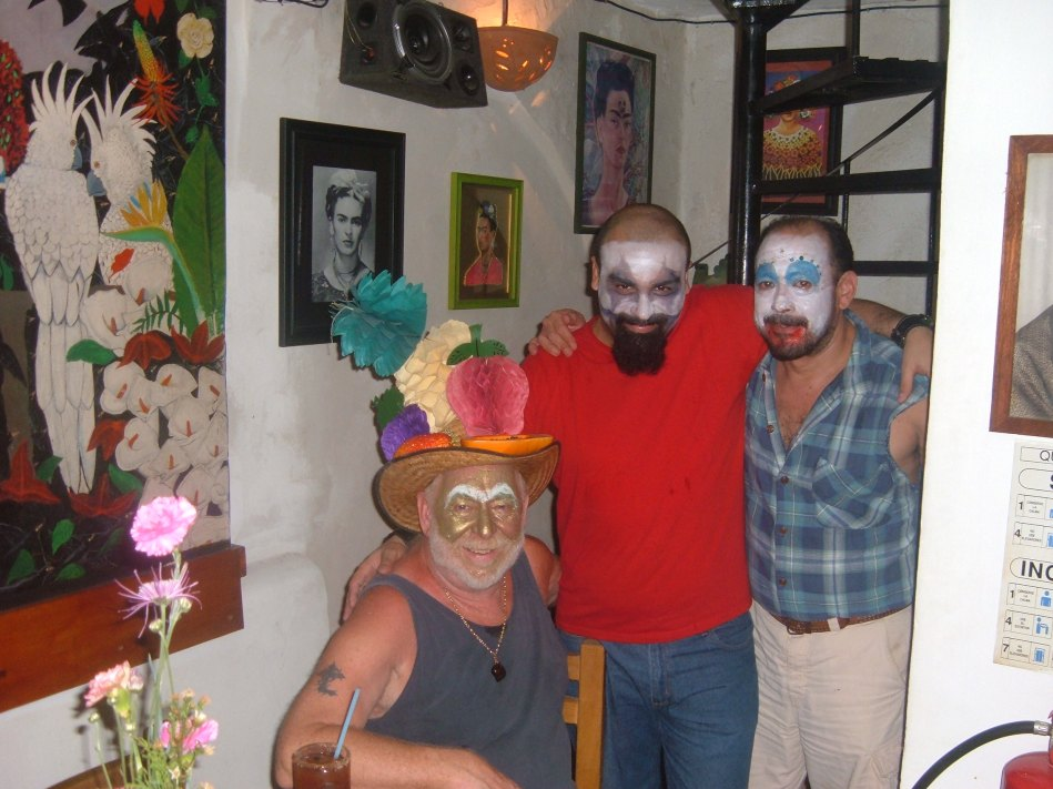 Tom, Victor and Luis at clown night.